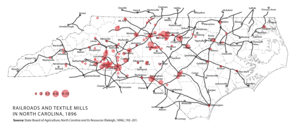 textile mills and railroads in North Carolina, 1896