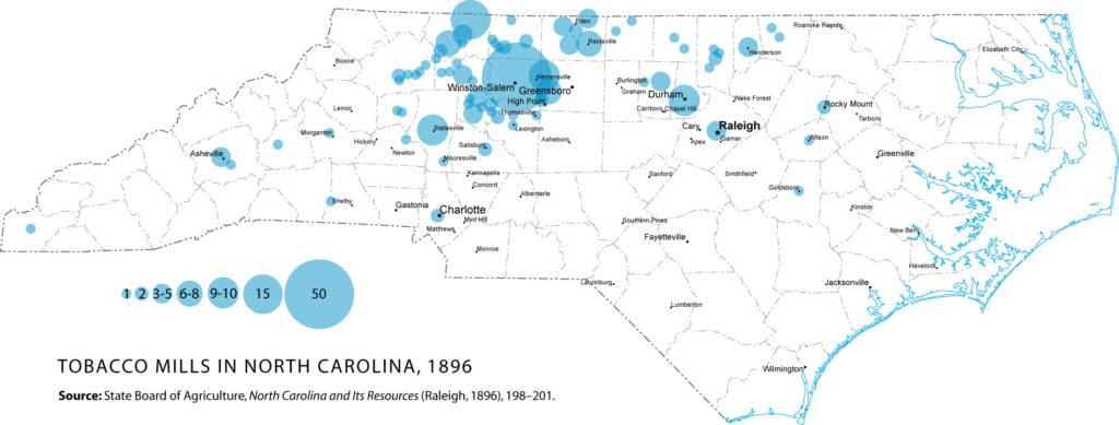 tobacco mills in North Carolina, 1896