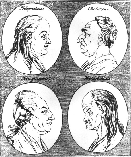 woodcut showing the four temperatments