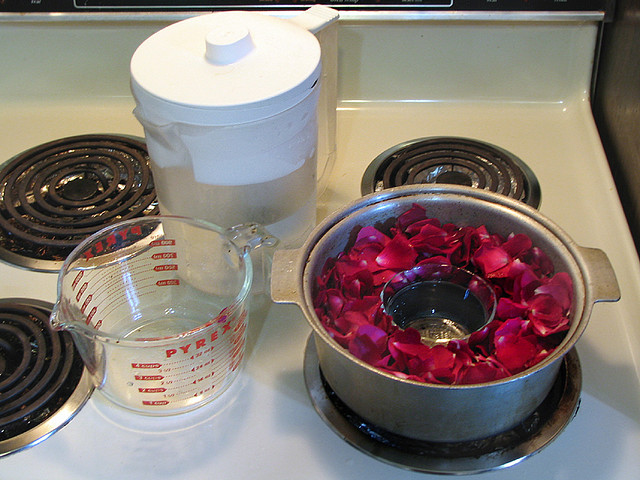 setup for distilling rose water
