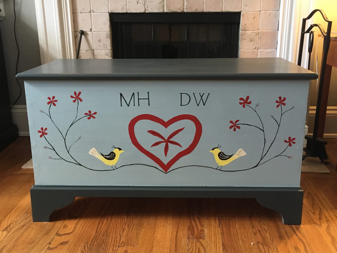 blanket chest, front view
